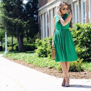 J. CREW Eyelet Lace Knee Length Kelly Green